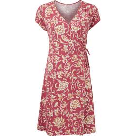 Sherpa Padma Wrap Dress Women, rojo/beige